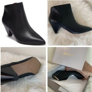Franco Sarto Daisy Leather Bootie black cone heel